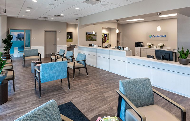 Interior view of the seating area and reception of a CenterWell Care Center
